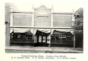 Photograph of the Citizens National Bank, Gastonia, North Carolina, ca. 1906.  From Joseph Henry Separk's <i>Illustrated Handbook of Gastonia,</i> p. 34. Published 1906 by Ray Publishing Company, Charlotte.  Robert Calvin Grier Love was president of the Love Trust Company which became the Citizens National Bank. Presented on Archive.org.