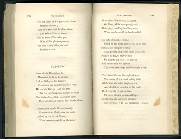 "J. M. Lovejoy's poem ""Napoleon,"" from Tenella's [Mayard Bayard Clarke] <i>Wood-Notes; or Carolina Carols: A Collection of North Carolina Poetry</i>, Volume I, published 1854 by Warren L. Pomeroy, Raleigh, North Carolina.  From the collections of the Government & Heritage Library, State Library of North Carolina."