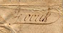 Image of John Lovick's signature on a counterfeit 20 shilling bill, circa 1722-1729.  Item H.1974.41.3 from the North Carolina Museum of History.  Used courtesy fo the North Carolina Department of Cultural Resources.