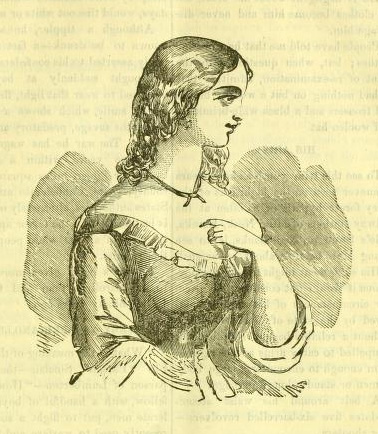 Depiction of Rhoda Lowry, from <i>The Swamp Outlaws,</i> by George Townsend, 1872.  From Archive.org.