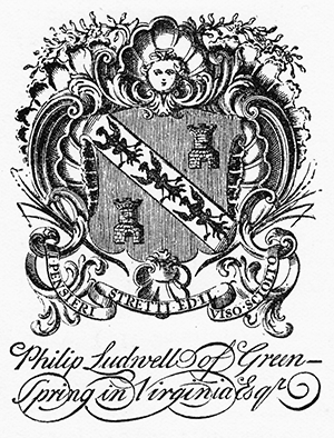 Bookplate of Philip Ludwell featuring his coat of arms. Image from the State Library of North Carolina.