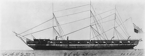 Sketch of hulls and rigging (not to scale) of the U.S. <i>Hornet</i>, by William A. K. Martin, circa 1843.  From the U.S.Naval History and Heritage Command.  Thomas Mann was aboard the <i>Hornet</i> when he died.