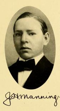 Senior portrait of John Hall Manning, from the 1909 University of North Carolina at Chapel Hill yearbook <i>The Yackety Yack,</i> Vol. IX, p. [49]. Published 1909, Chapel Hill, N.C.