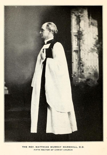 Photographic portrait of The Rev. Matthias Murray Marshall, D.D. Fifth Rector of Christ Church.  From Joseph Blount Cheshire's <i>Centennial Ceremonies Held in Christ Church Parish Raleigh, North Carolina A.D. 1921</i>, published 1922 by Bynum Printing Company, Raleigh. Presented on Archive.org.