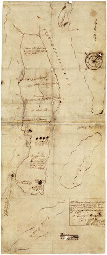"William Maule, Surveyor General, ""This Plane as here delineated and Layed Out represents the Island of Roan-Oak in North Carolina Containing Twelve Thousand Acres of Land and Marsh. As Surveyed Anno 1718 by Wm. Maule, Surye. Genl."" Map, published 1718.  From the collections of the State Archives of North Carolina.  Presented by North Carolina Maps."