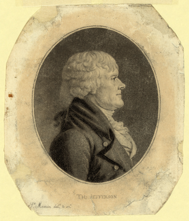 Head and shoulders portrait of Thomas Jefferson by Charles Saint-Memin, 1804.  Samuel McCorkle was said to resemble Jefferson in both likeness and demeanor. Popular Graphic Arts, Library of Congress, Prints & Photographs Online Catalog.