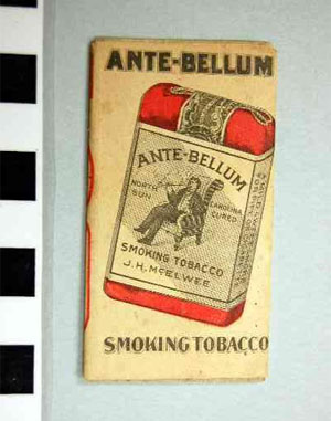 "Photograph of the paper wrapper from ""Ante-Bellum"" smoking tobacco, manufactured by J. H. McElwee, Statesville, N.C.  Item S. HS.2006.41.870 from N.C. Historic Sites.  Image used courtesy of the North Carolina Department of Cultural Resources."