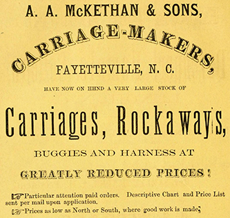 An 1867 advertisement for A. A. McKethan and Sons. Image from the Internet Archive.