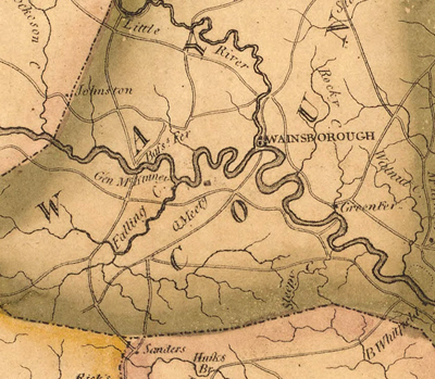 "Detail area of the <i>Price-Strother Map</i> of 1808 showing Wayne County and ""Gen. McKinney"" south of the Neuse River.  Created by Jonathan Price and John Strother, engraved by William Harrison, Philadelphia, 1808.  Map from the North Carolina Collection, Wilson Library, the University of North Carolina at Chapel Hill.  Presented online by NCMaps, University Library, UNC-Chapel Hill."