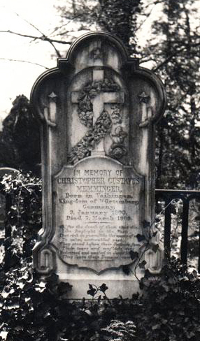 Gravestone of Christopher Gustavus Memminger in Flat Rock, near Hendersonville. Image from the North Carolina Museum of History.