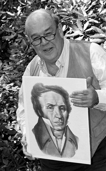 A photograph of television personality Charles Kuralt holding a portrait of Andre Michaux, May 28, 1994. Image from the North Carolina Collection Photographic Archives, University of North Carolina at Chapel Hill.