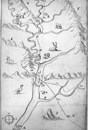 Frantz Ludwig, or Francis Louis Michel's 1707 map of the Shenandoah Valley and Upper Potomac River. Image from the National Park Service.