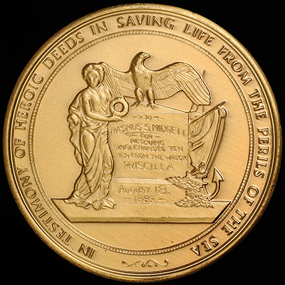 "A copper version of the gold medal awarded to Erasmus S. Midgett by the United States Congress. ""Medal, Accession #: H.2006.110.5.""  North Carolina Museum of History."