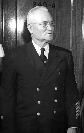 A photograph of Levene Westcott Midgett at his 1953 retirement. Image from the United States Coast Guard.