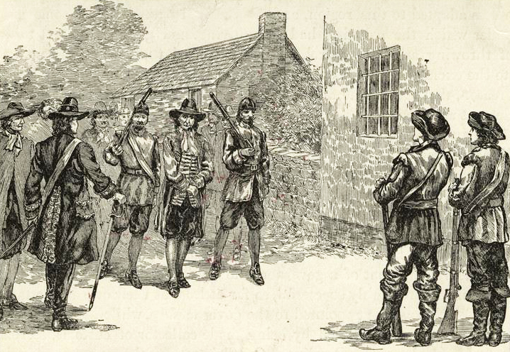 Illustration of Miller imprisoned after Culpeper's Rebellion from an 1890 history book. Image from the New York Public Library.