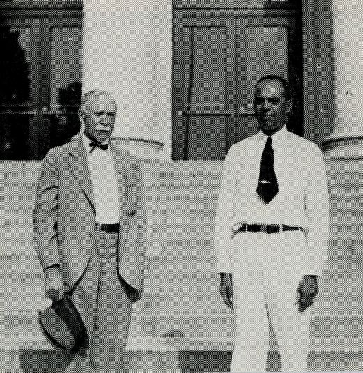 "Dr. C. B. Smith (left) and J.W. Mitchell, at the Negro 4-H Short Course at A & T College, Greensboro.  From the ""Annual Report of Agricultural Extension Work in North Carolina 1938."" NCSU Libraries' Digital Collections: Rare and Unique Materials."
