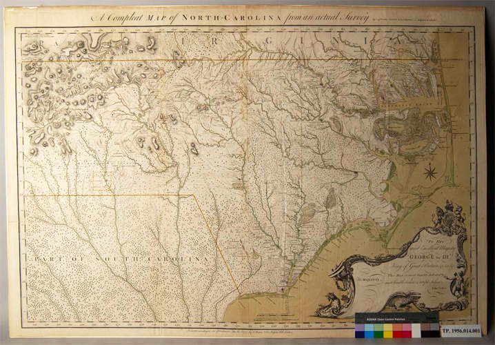 Map of North Carolina, published 1770.  Made from a survey by Captn. Collet, Governor of Fort Johnson.  George Moore had significant land holdings north of Wilmington, N.C. and was commissioned to oversee the building of Fort Johnston at Southport, NC.  From the collections of Tryon Palace.  Image courtesy of the North Carolina Department of Cultural Resources.