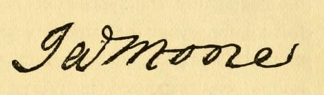 Signature of James Moore, published in Charles Lukens Davis' <i>History of the North Carolina Troops of the Continetal Army</i>, published 1896.  Presented on Archive.org.