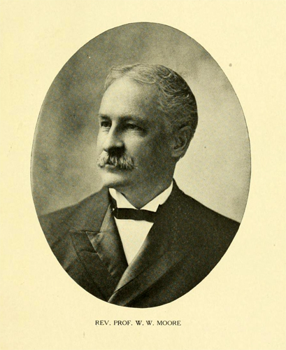 Portrait of Rev. Prof. W. W. Moore, circa 1907, from <i>Centennial General Catalogue of The Trustess, Officers, Professors and Alumni of Union Theological Seminary in Virginia</i>, edited by Walter W. Moore and Tilden Sherer, published 1907.  Presented on Archive.org.