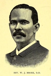 Engraved portrait of the Rev. W. J. Moore, D.D., from <i>One Hundred Years of the African Methodist Episcopal Zion Church</i>, published 1895.  Presented on Archive.org.