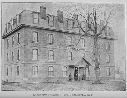 Photographic image of Livingstone College, Salisbury, N.C., circa 1898, from the 1896-1898 <i>Biennial Report of the Superintendent of Public Instruction of North Carolina</i>, in the State Publications Collection, Government & Heritage Library, State Library of NC.  Presented on the Government & Heritage Library Flickr stream.