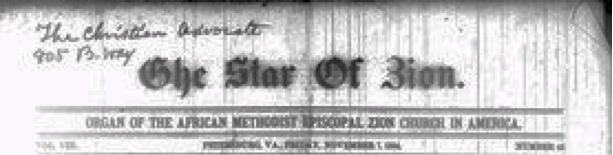 Image of masthead for the newspaper <i>The Star of Zion</i>, Novembr 7, 1884.  William John Moore gave financial support to the establishment of the paper.