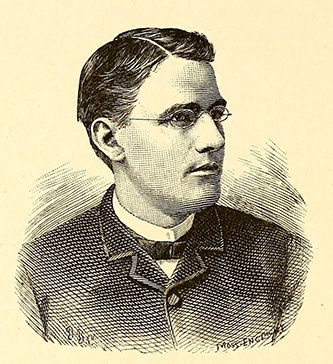 An engraving of Edward Pearson Moses published in 1885. Image from the Internet Archive.