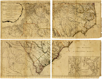 <i>Mouzon Map</i>, by Henry Mouzon (and others), published 1775 by John Bennett and Robert Sayer, London.  From the collections of the State Archives of North Carolina.  View of entire map available online at North Carolina Maps at the University of North Carolina, Chapel Hill.