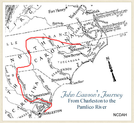 Map of John Lawson's Journey from Charleston to the Pamlico River.  From Historic Bath, North Carolina Historic Sites.  Used courtesy of the North Carolina Department of Natural and Cultural Resources.