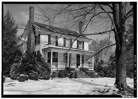 Photograph of the Nash-Hooper House, Hillsborough, NC, built by Francis Nash.  Image from the Historic American Buildings Survey, Library of Congress Prints & Photographs Online Catalog.