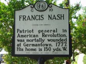 Francis Nash Historical Marker, Hillsborough, NC.  Image courtesy of the North Carolina Highway Historical Marker Program, N.C. Office of Archives & History, N.C. Department of Cultural Resources.