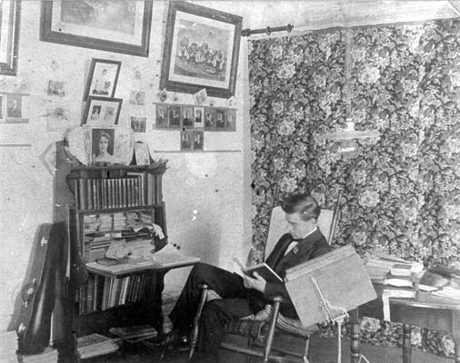 Dallas Walton Newsom, studying in his room at Trinity College. Photo is courtsey  North Carolina Collection: Durham County Library.