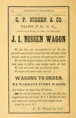 "Advertisement for the C.F. Nissen & Company ""J.I. Nissen Wagon.""  C.F. and J.I. Nissen were the sons of John Philip Nissen. From the Interstate Directory Company's <i>Directory of Greensboro, Salem and Winston</i>, published 1884 by H.H. Dickson, Book and Job Printer, Atlanta, G.A. Presented on Archive.org."