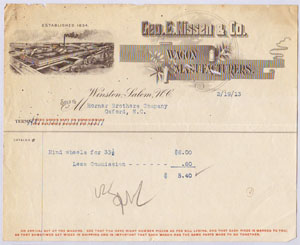 "Receipt for the Geo. E. Nissen & Co.  Wagon Manufacturers, Winston-Salem, N.C., 1913.  Receipt shows ""Established 1834,"" the year George Nissen's father, J. P. Nissen established his wagonworks. Item S.HS.2008.5.335 from the collections of North Carolina Historic Sites.  Used courtesy of the North Carolina Department of Cultural Resources."