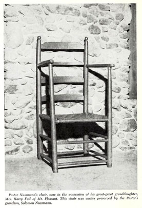 Photograph of Pastor Nussman's chair.  Image from <i>Life Sketches of Lutheran Ministers North Carolina and Tennessee Synods 1773-1965</i>, published 1966 by the North Carolina Synod of the Lutheran Church in America. Work from the collections of the Duke Divinity School Library, Duke University.  Presented on Archive.org.