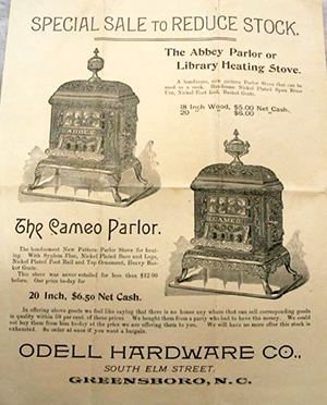 An undated flyer from the Odell Hardware Company of John M. Odell, advertising wood stoves. Image from the North Carolina Museum of History.