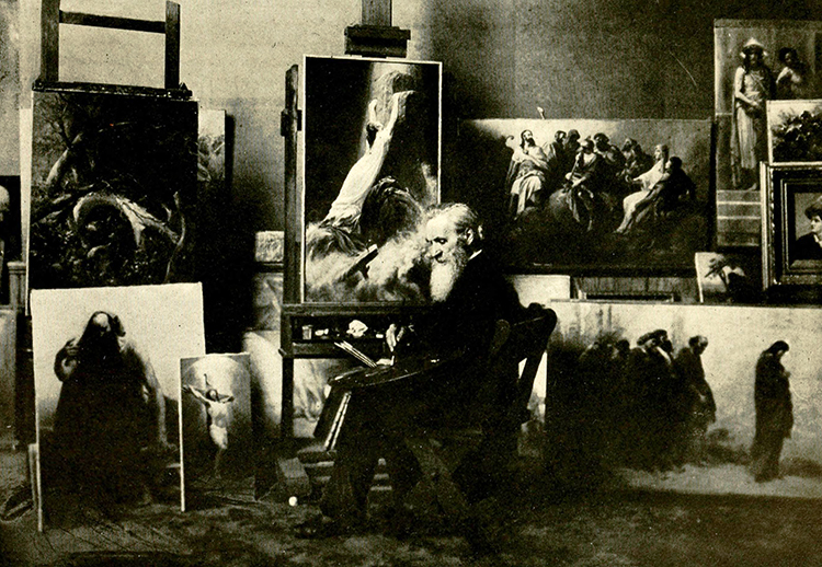A photograph of Johannes Adam Simon Oertel working in his Bel Air, Maryland studio. Image from Archive.org.