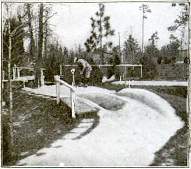 The number four hole on the Thistle Dhu miniature golf course, 1919. Image from Google Books.