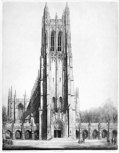 Louis Orr's etching of the Duke University Chapel in Durham. Image from the North Carolina Museum of History.