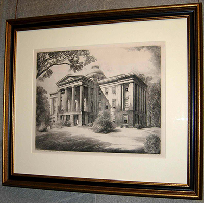 Louis Orr's etching of the State Capitol building in Raleigh. Image from the North Carolina Historic Sites.