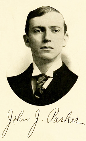 John J. Parker's college yearbook photograph and signature from 1907. Image from University of North Carolina at Chapel Hill.