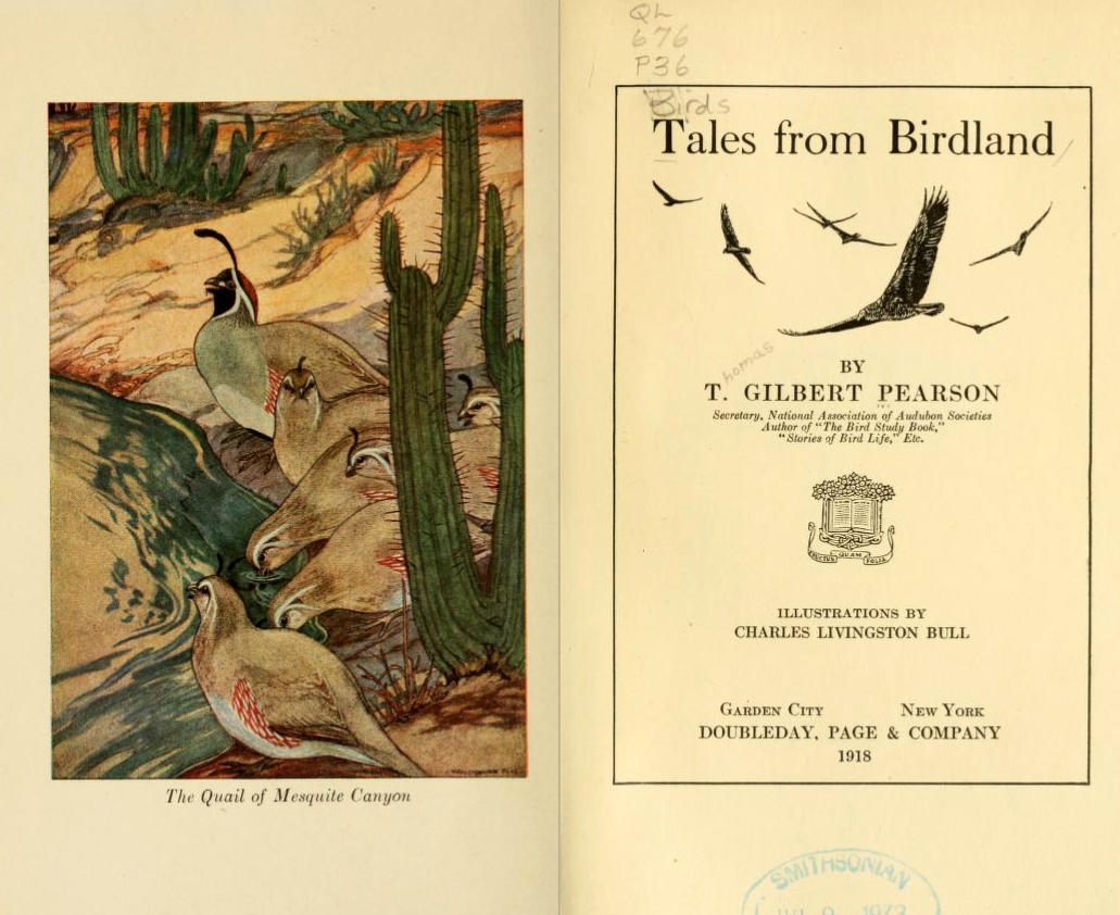 Title page and illustration from T. Gilbert Pearson's <i>Tales from Birdland,</i> published 1918 by Doubleday, Page & Company.  Presented on Archive. org.