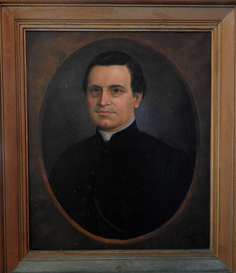"""Portrait of Monsignor John Virtue"", painted by Josiah Pender in 1860. From the collection of the St. George's Historical Society, St. George's, Bermuda.  Presented in NCpedia by permission."