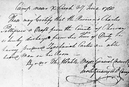 Charles Pettigrew's discharge from military service, 1780. Image from Archive.org.