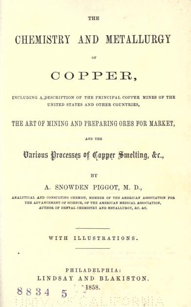 Title page from A. Snowden Piggot's <i>The Chemistry and Metallurgy of Copper</i>, published 1858 by Lindsay and Blakiston, Philadelphia. Presented on Archive.org.