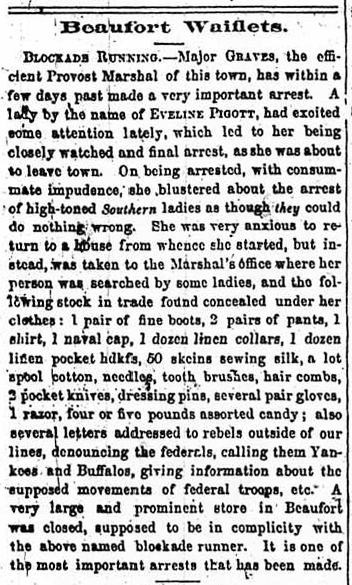 A newspaper article from February 18, 1865, describing Emeline Pigott's arrest. Image from the N.C. Dept. of Cultural Resources.