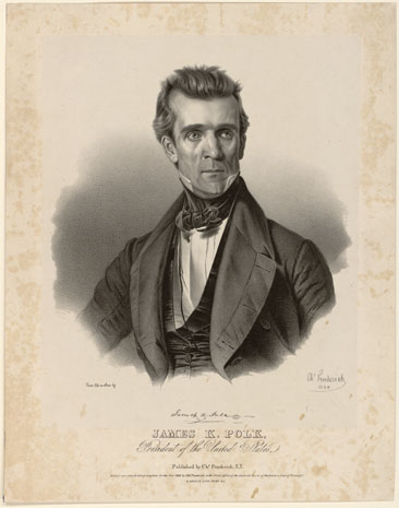"""James K. Polk, President of the United States."" By Charles Fenderich, 1845.  From the Popular Graphic Arts Collection, Library of Congress Prints & Photographs Online Catalog."