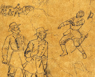 A drawing of the death of General Leonidas Polk, made by artist Alfred R. Waud on June 14, 1864.