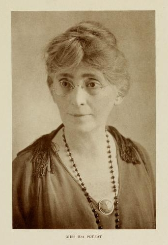 """Miss Ida Poteat.""  Photographic portrait of Ida Isabella Poteat, from the 1923 Meredith College (Raleigh, N.C.) yearbook <i>Oak Leaves</i>."