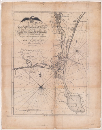 Barker, Price, and Strother's map of the Cape Fear and vicinity, 1798.  From the collections of the State Archives of North Carolina.  Presented in North Carolina Maps at the University of North Carolina at Chapel Hill.